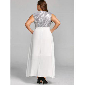Paillettes taille plus robe de cocktail maxi - Blanc 4XL