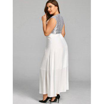 Sequins Plus Size Maxi Cocktail Dress - WHITE 5XL