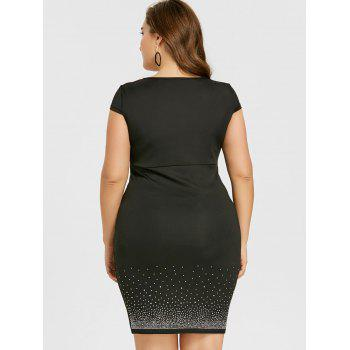 Plus Size Cap Sleeve Sweetheart Neck Bodycon Dress - BLACK XL