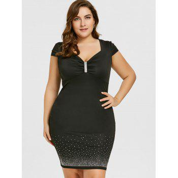 Plus Size Cap Sleeve Sweetheart Neck Bodycon Dress - BLACK 2XL