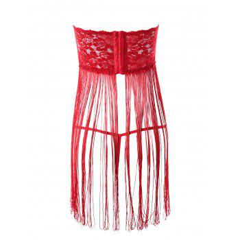 Sheer Lace Tube Babydoll with Tassel - RED ONE SIZE