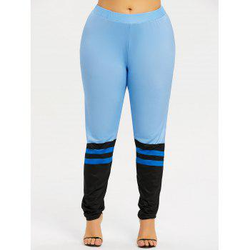 Plus Size Color Block Workout Leggings - AZURE 5XL