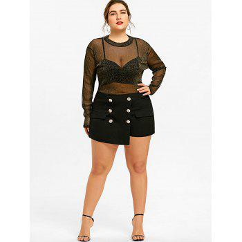 Plus Size Button Skorts - BLACK XL