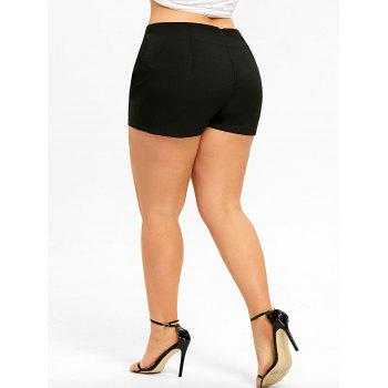 Plus Size Button Skorts - BLACK 5XL