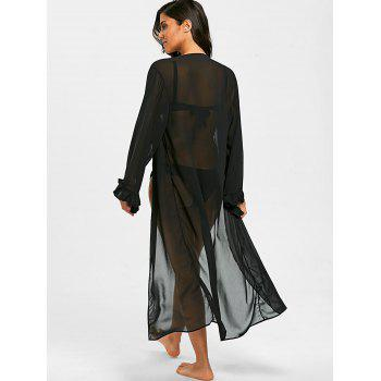 Flounce Long Chiffon Cover-up Cardigan - BLACK ONE SIZE