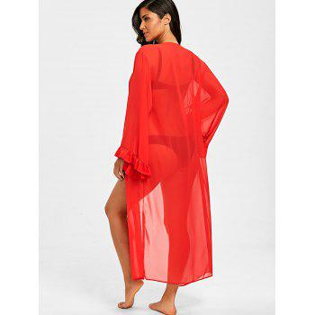 Flounce Long Chiffon Cover-up Cardigan - RED ONE SIZE