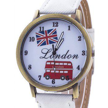 London Face Faux Leather Number Watch - WHITE