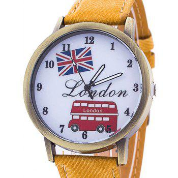 London Face Faux Leather Number Watch - YELLOW