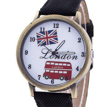 London Face Faux Leather Number Watch - BLACK