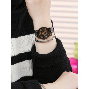 Alloy Mesh Strap Geometric Face Watch - BLACK