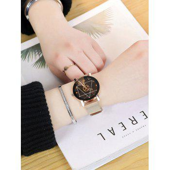 Alloy Mesh Strap Geometric Face Watch - BLACK/ROSE GOLD