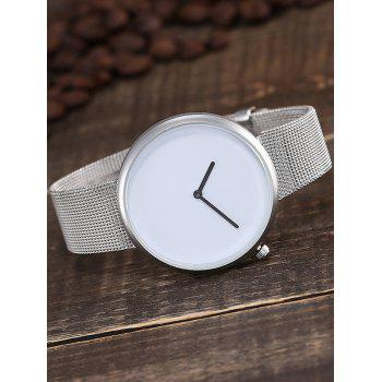 Plain Dial Mesh Stainless Steel Strap Quartz Watch - WHITE