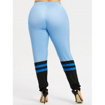 Plus Size Color Block Workout Leggings - AZURE 4XL