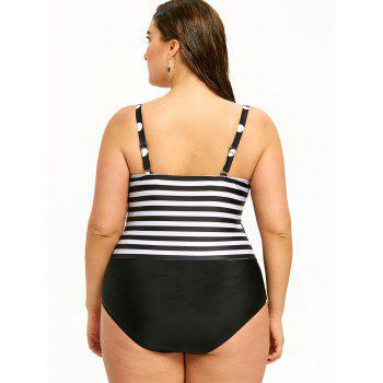 Monochrome Plus Size Retro Swimsuit - BLACK 4XL