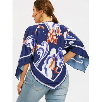 Plus Size Floral Printed Asymmetrical T-shirt - PURPLISH BLUE 5XL