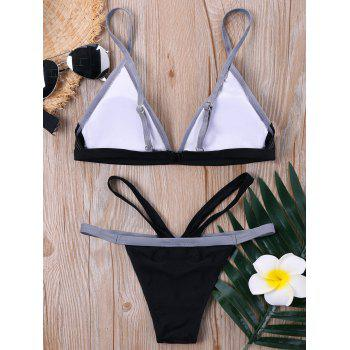 Push Up Color Block Cut Out Bikini Set - BLACK 2XL