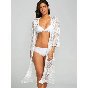 Lace Sheer Kimono Beach Cover Up - WHITE S