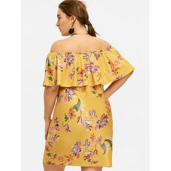 Ruffle Hem Plus Size Printed Dress - YELLOW 5XL