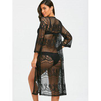 Lace Sheer Kimono Beach Cover Up - BLACK 2XL