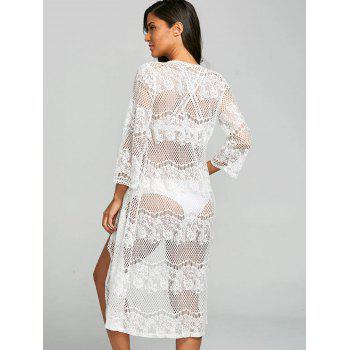 Lace Sheer Kimono Beach Cover Up - WHITE XL
