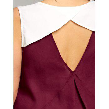 Plus Size Two Tone Keyhole Back Blouse - WINE RED 2XL