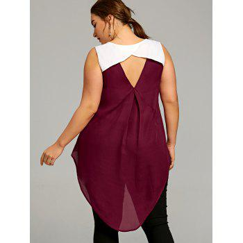 Plus Size Two Tone Keyhole Back Blouse - WINE RED 4XL
