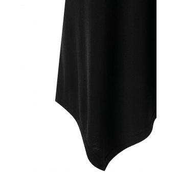 Open Back Embroidery Foldover Tunic T-shirt - BLACK L