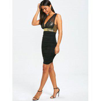 Sleeveless Sparkly Ruched Tight Dress - BLACK/GOLDEN L