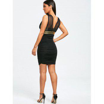 Sleeveless Sparkly Ruched Tight Dress - BLACK/GOLDEN XL