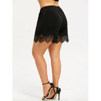 Plus Size Lace Trim Wide Leg Shorts - BLACK 4XL