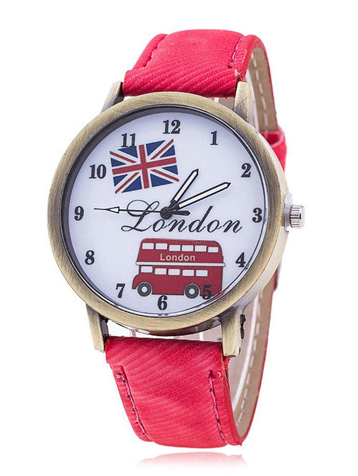 London Face Faux Leather Number Watch - RED