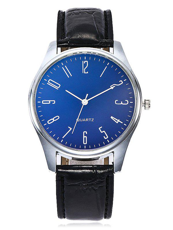 Faux Leather Strap Round Analog Watch - DARK BLUE