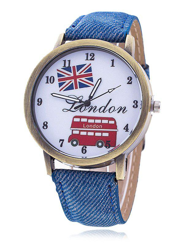 London Face Faux Leather Number Watch - BLUE