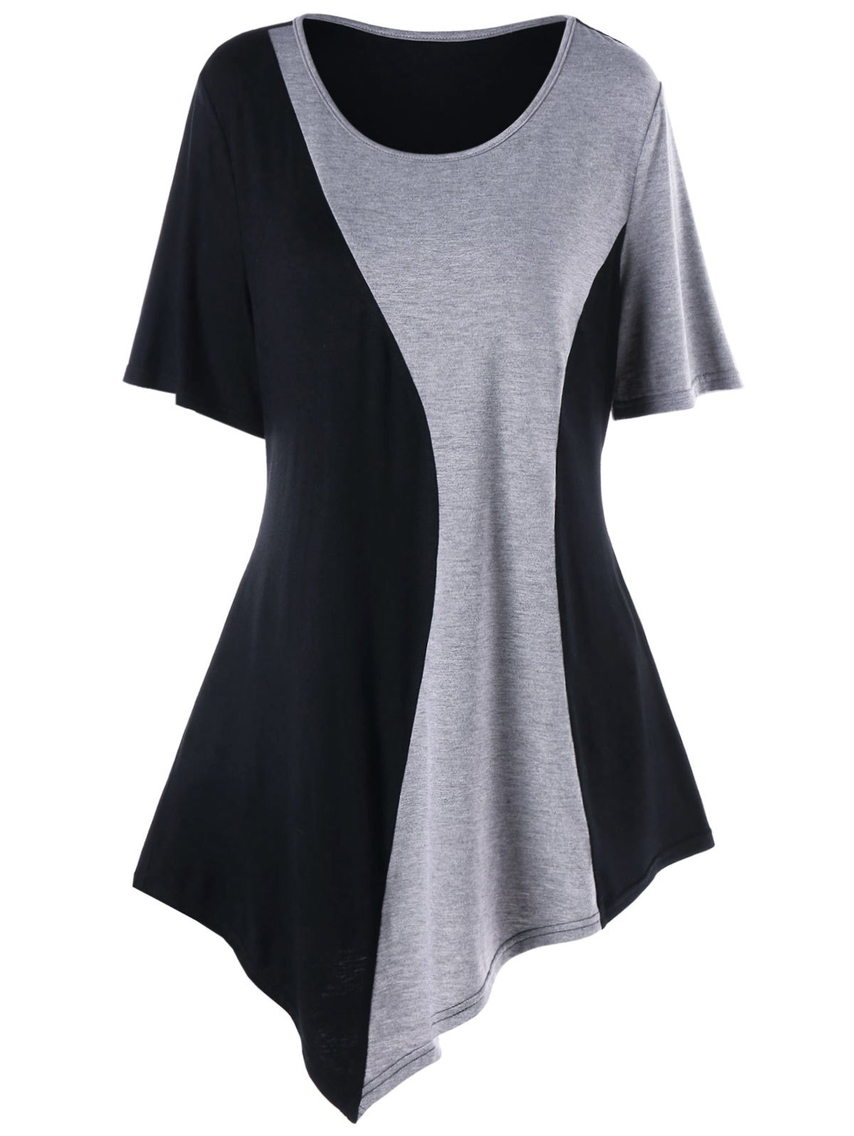 Plus Size Two Tone Asymmetric Longline T-shirt plus size v neck two tone t shirt