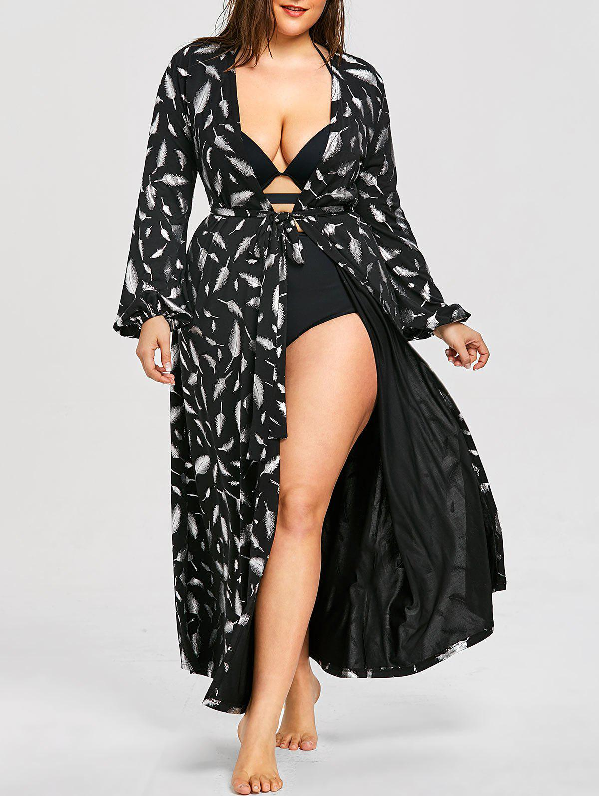 Plus Size Long Sleeve Flowy Maxi Cover Up - BLACK 3XL
