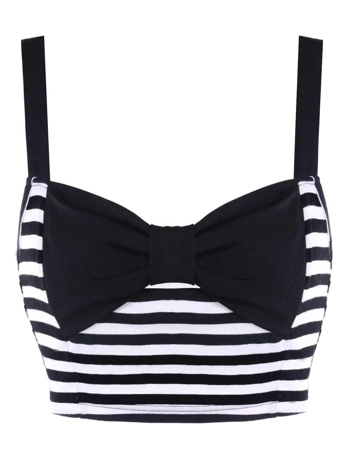 Striped Bowknot Crop Tank Top - BLACK WHITE M