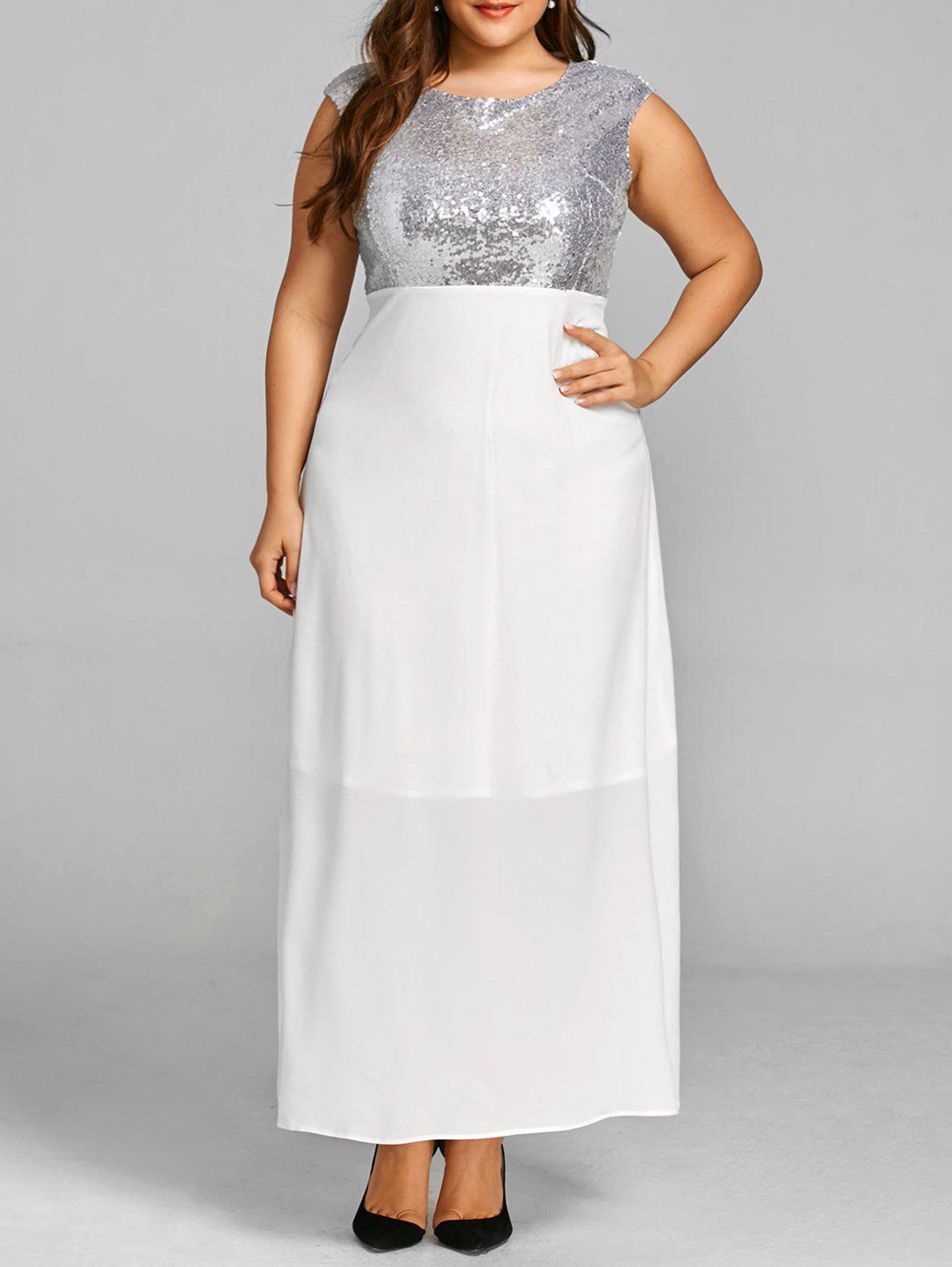 Sequins Plus Size Maxi Cocktail Dress - WHITE 2XL