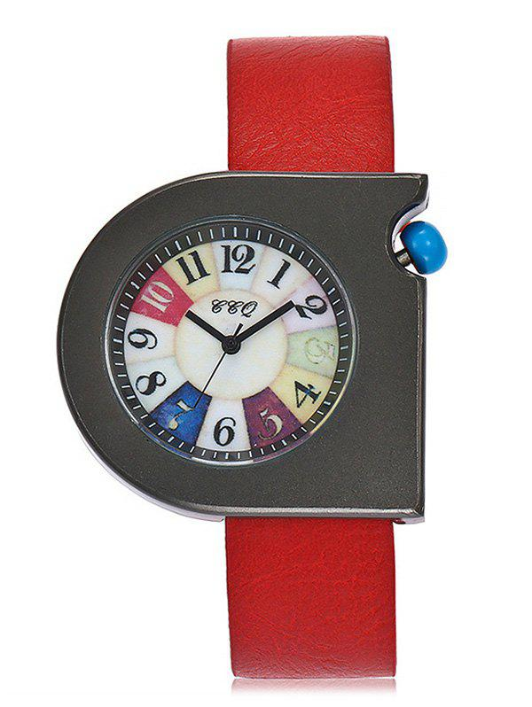 Turnplate Face Faux Leather Strap Watch watermelon face faux leather watch