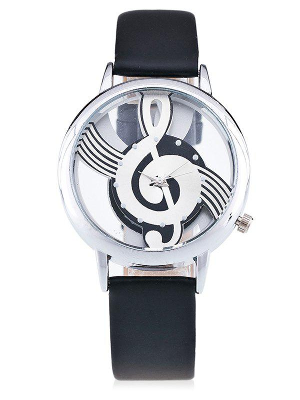 Musical Note Face Faux Leather Watch - BLACK