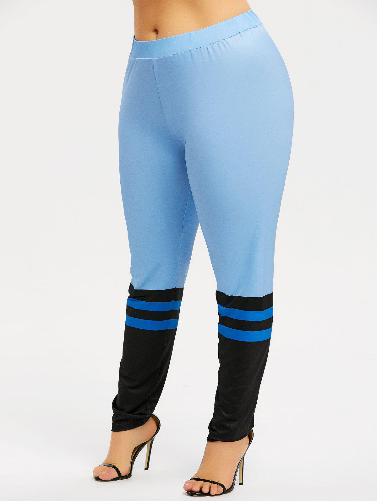 Plus Size Color Block Workout Leggings - AZURE 3XL