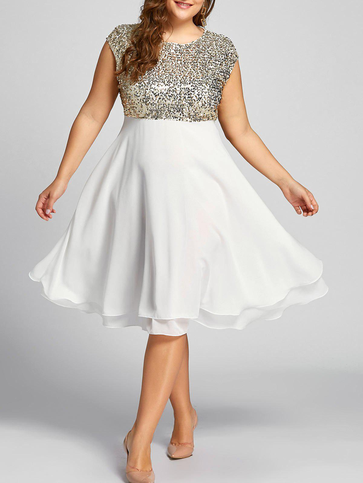 2018 Plus Size Sequin Sparkly Cocktail Dress GOLDEN XL In Dresses ...
