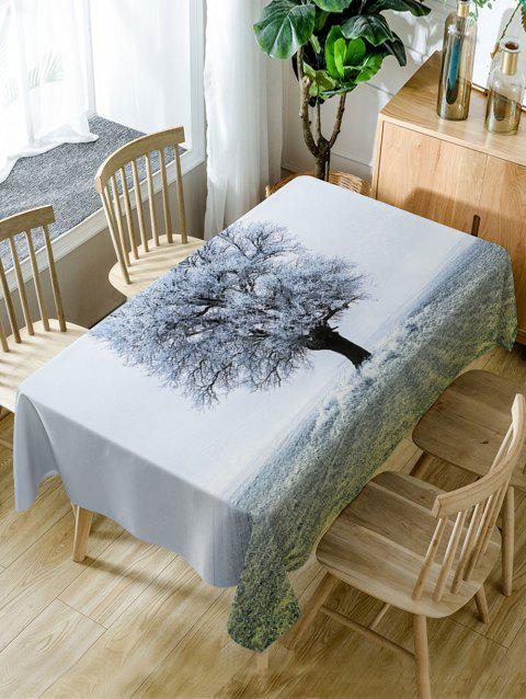 Frozen Tree Print Waterproof Dining Table Cloth - WHITE W60 INCH * L84 INCH