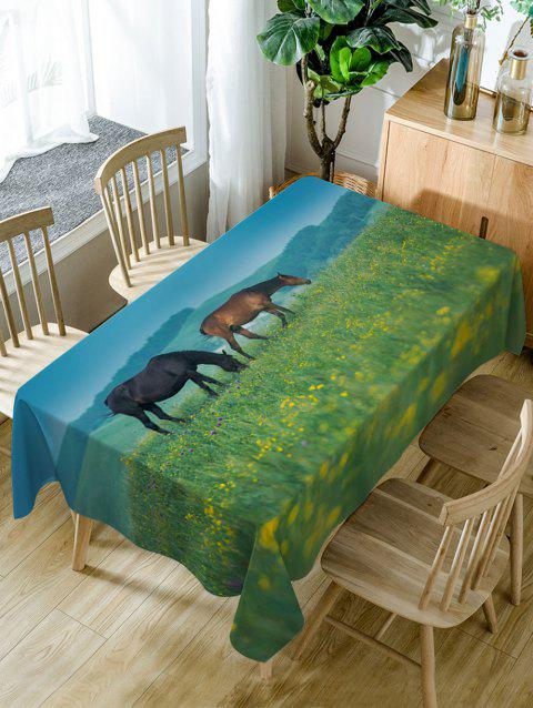Horses On The Grasslands Print Waterproof Table Cloth - GREEN W54 INCH * L72 INCH