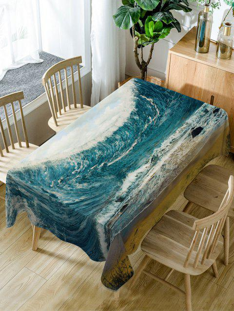 Ocean Wave Print Fabric Waterproof Table Cloth - SEA BLUE W54 INCH * L72 INCH
