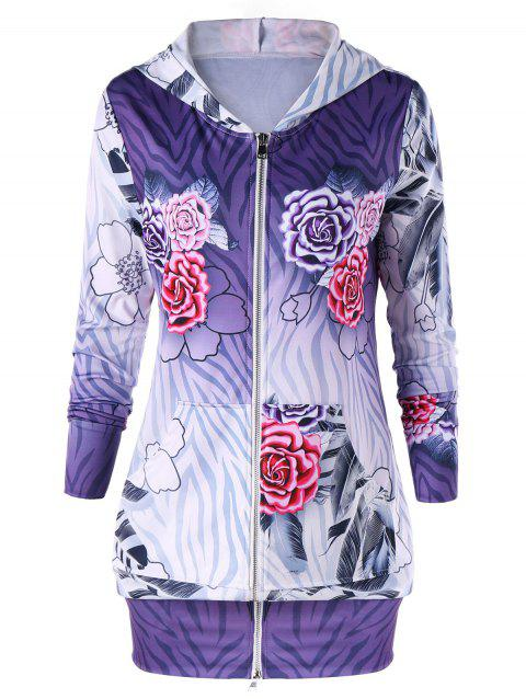 Zipped Flower Print Hoodie Dress - PURPLE M