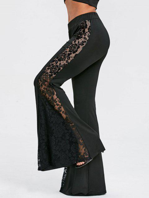 Flower Lace Panel High Waisted Flare Pants - BLACK L