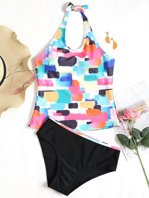 Low Waisted Colorful Tankini Set - COLORFUL XL