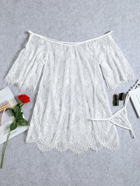 Lingerie Lace See Through Dress - WHITE 2XL