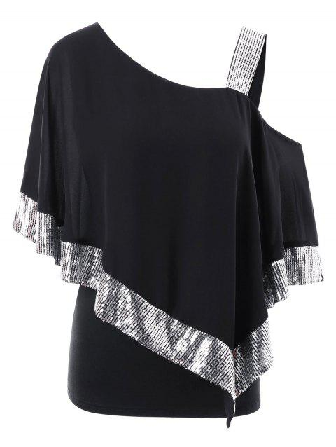 Plus Size Skew Collar Split Sleeve Overlay T-shirt - BLACK 5XL