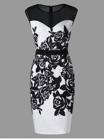 Plus Size Mesh Panel Flower Print Work Dress